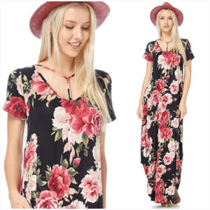 Black Floral Pocket Maxi Dress